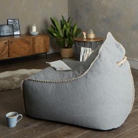 Charcoal Canvas Bean Bag Chair