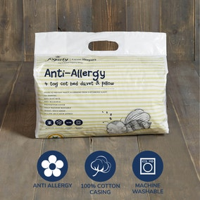Fogarty Little Sleepers Anti Allergy 4 Tog Cot Bed Duvet and Pillow Set