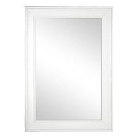 Bevelled Wall Mirror 91x66cm White