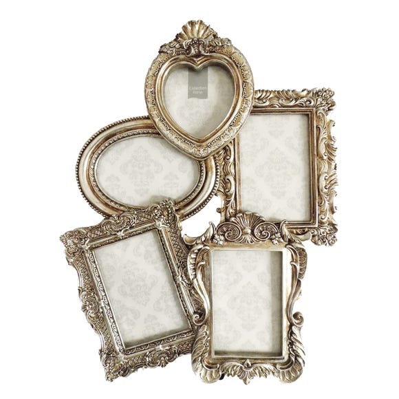 Ornate 5 Aperture Photo Frame Silver