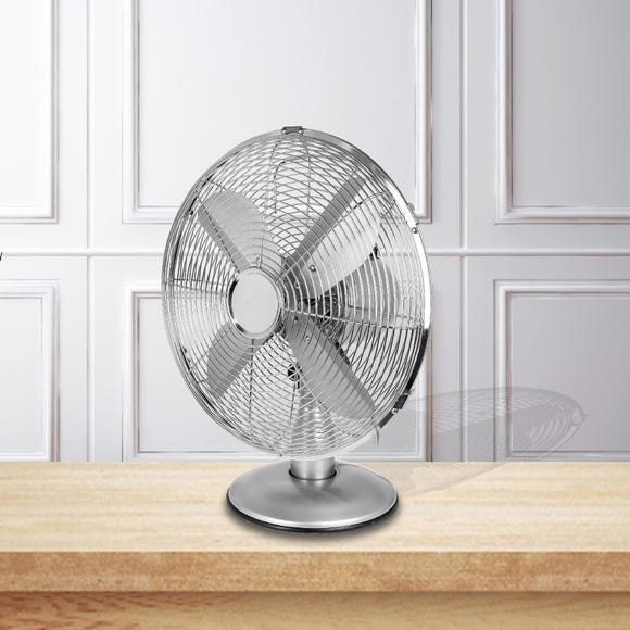 Chrome Classic 12 Inch Desk Fan Chrome