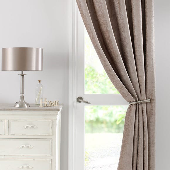 Chenille Taupe Thermal Pencil Pleat Door Curtain  undefined