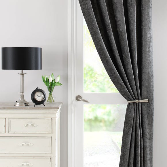 Chenille Grey Thermal Pencil Pleat Door Curtain  undefined