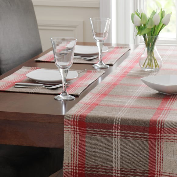 Set Of Two Red Highland Check Placemats Red
