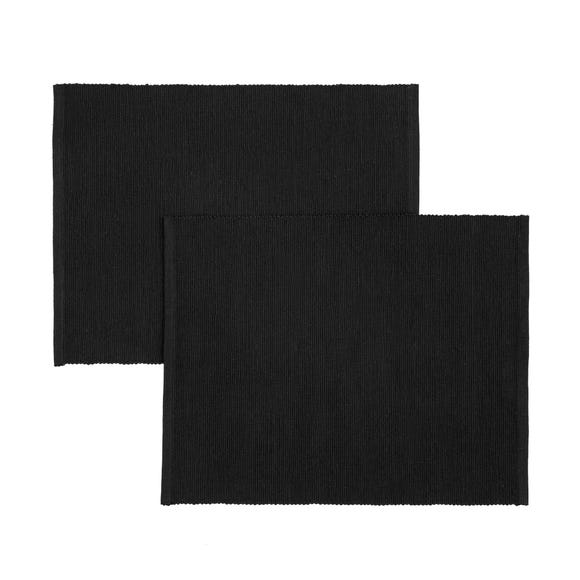 Pack of 2 Ribbed Placemats Black