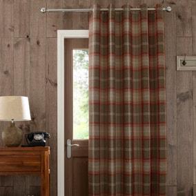 Highland Check Red Eyelet Door Curtain