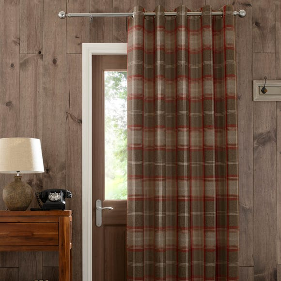 Highland Check Red Eyelet Door Curtain  undefined
