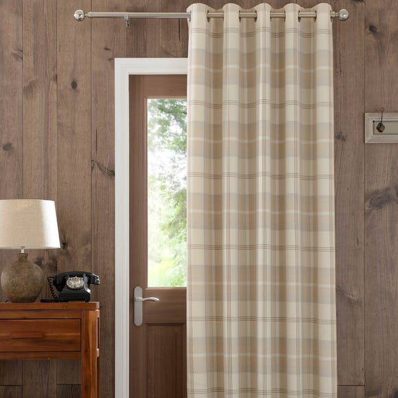 Highland Check Natural Eyelet Door Curtain  undefined