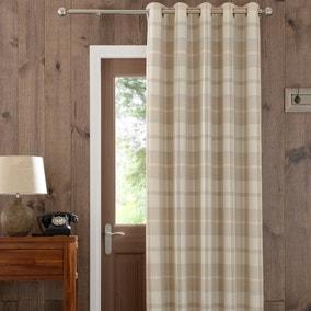 Highland Check Natural Eyelet Door Curtain