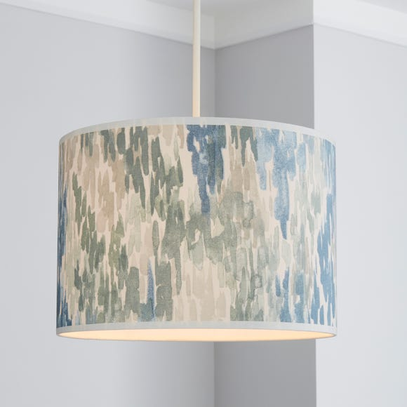 Honesty Wave 30cm Drum Blue Shade Dunelm, Blue And Green Lamp Shade