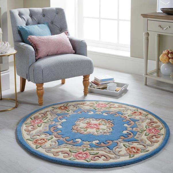 Lotus Premium Aubusson Circle Rug Aubusson Blue undefined