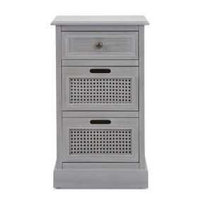 Lucy Cane Grey Bedside Table