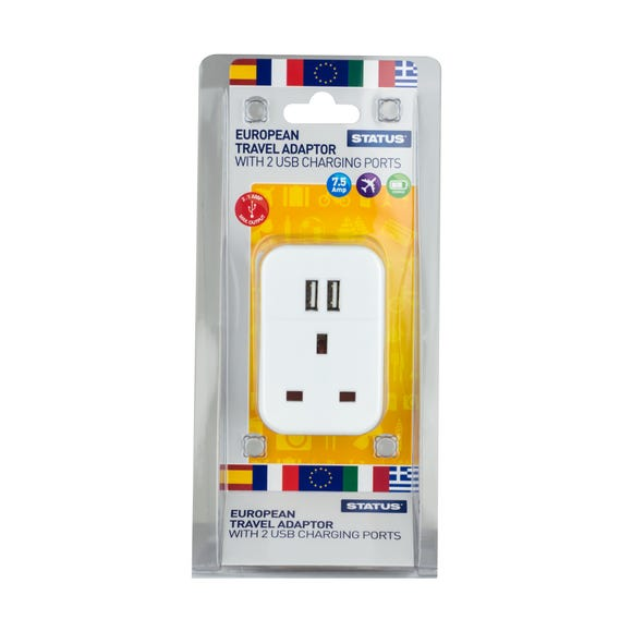 European Travel Adaptor with 2 USB Ports White