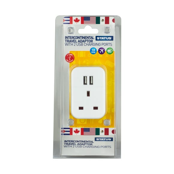 Intercontinental Travel Adaptor with Two USB Ports White