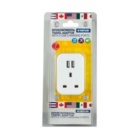 Intercontinental Travel Adaptor with Two USB Ports