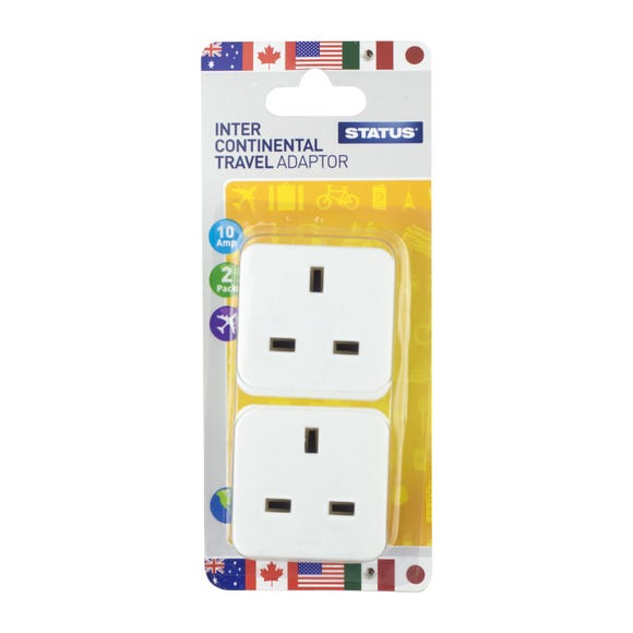 Worldwide Twin Pack Adaptor White