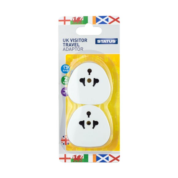 Twin Pack UK Visitor Adaptors White
