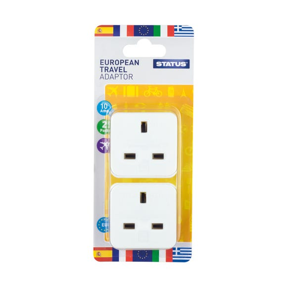 Twin Pack European Travel Adaptors White