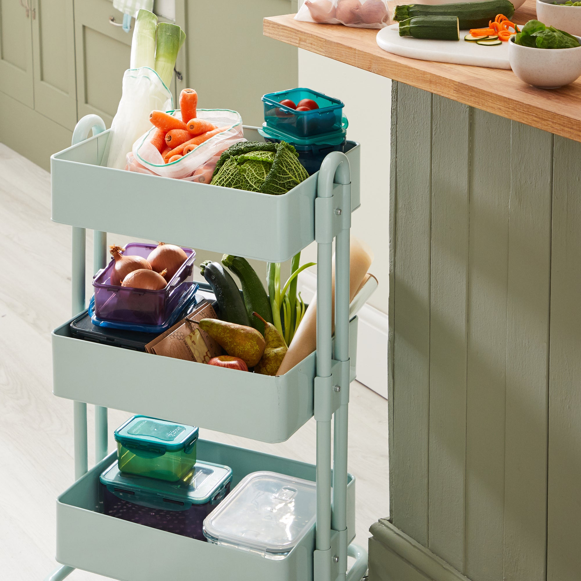 3 Tier Sage Storage Trolley Sage (Green)