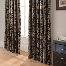 Dorma Blenheim Black Jacquard Blackout Pencil Pleat Curtains