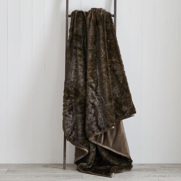 Faux Fur 150cm x 200cm Throw Faux Fur Ash Brown