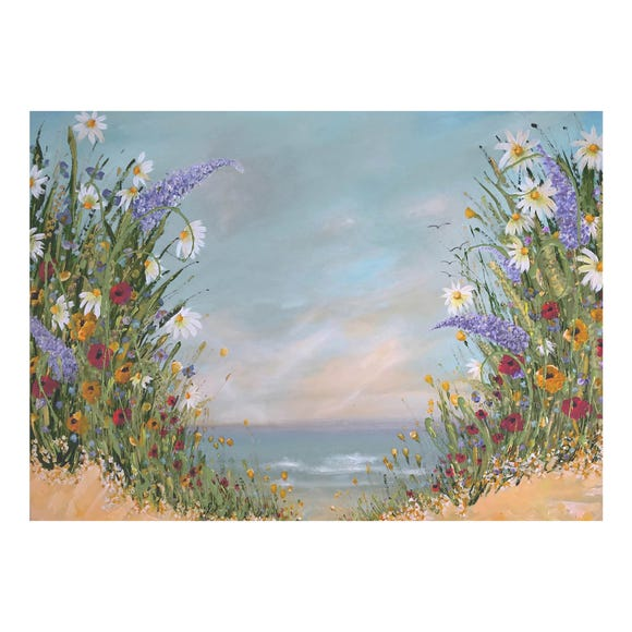 Emma Sian Pritchard Floral Beach Canvas Blue
