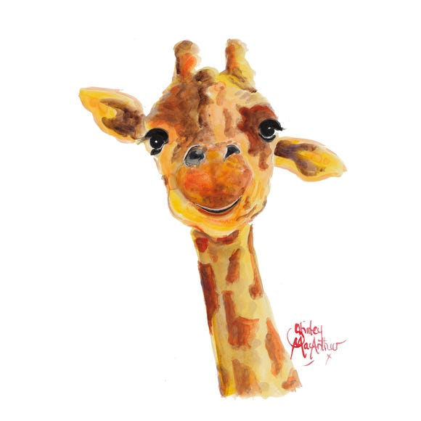 Shirley MacArthur Tommy Giraffe Canvas Brown