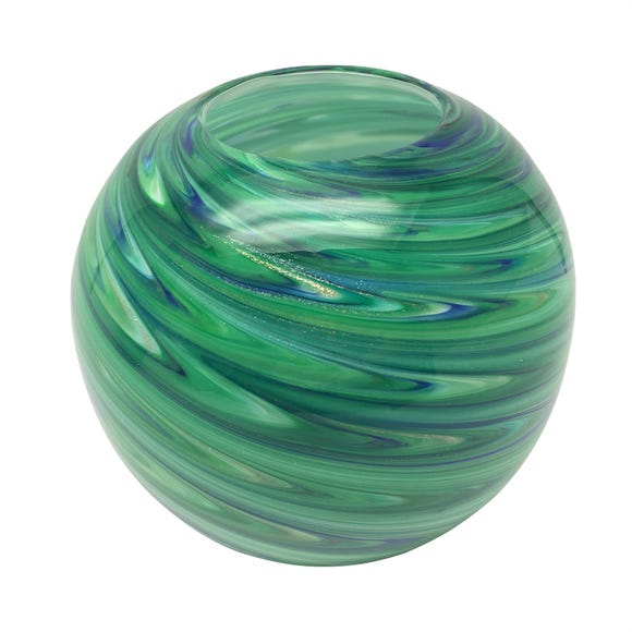Deco Charm Peacock Glass Bowl Blue