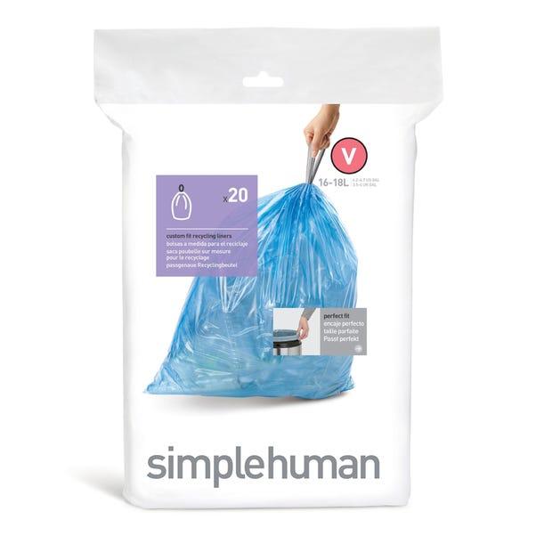 Simplehuman Pack Of 20 V 46L Bin Liners Blue