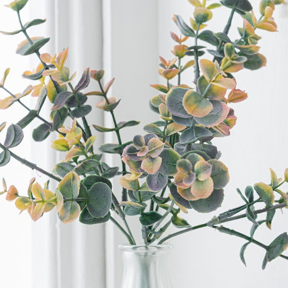 Artificial Eucalyptus Bush Green Single Stem 35cm Grey