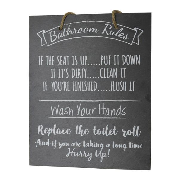 Bathroom Rules Slate Plaque Black