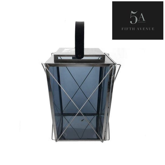 5A Fifth Avenue Large Smoked Glass Lantern Grey