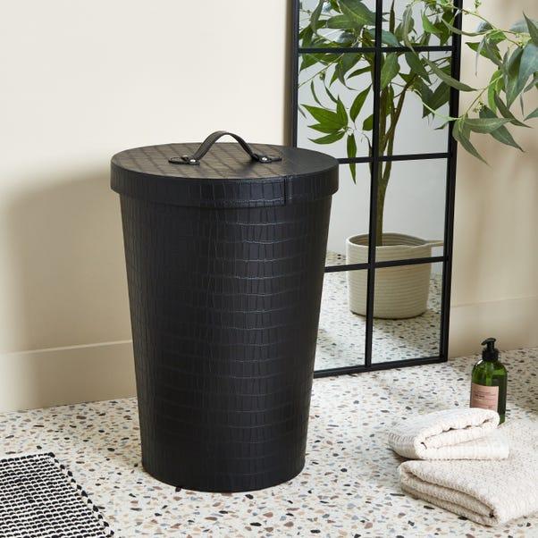 5A Fifth Avenue Mock Croc Black Laundry Basket Black