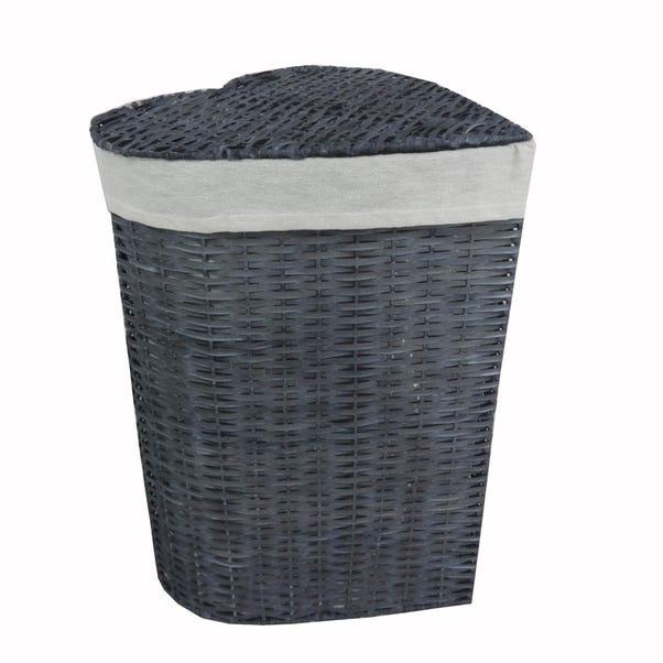 Grey Heart Wicker Laundry Basket Grey