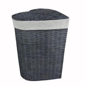 Grey Heart Wicker Laundry Basket