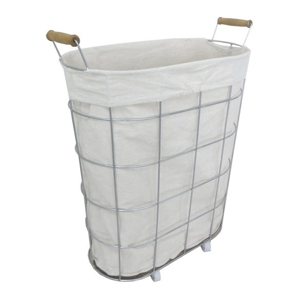 Wheeled Wire Laundry Basket Natural