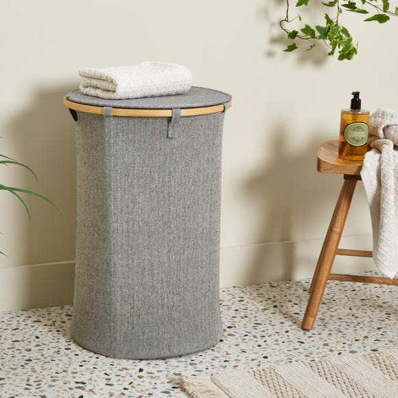 Elements Bamboo Laundry Basket Grey