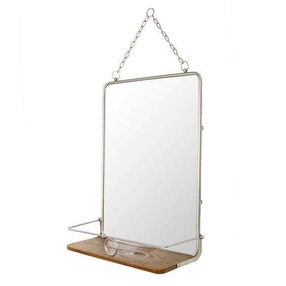 Keepers Lodge Satin Nickel Mirror with Shelf Satin Nickel (Silver)