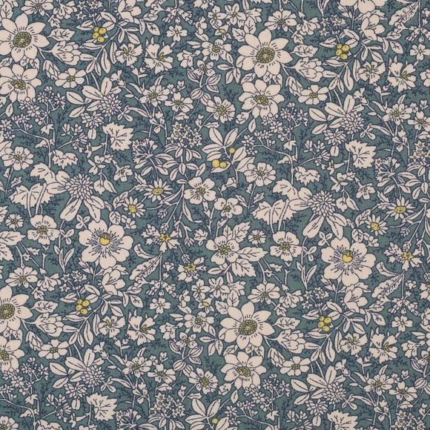 Dresden Floral Cotton Poplin Blue