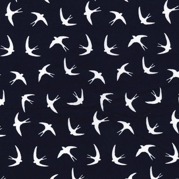 Navy Swallow Print Cotton Poplin Navy