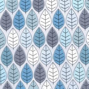 Blue Leaf Print Cotton Poplin