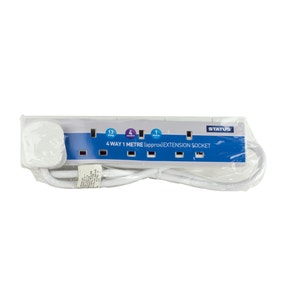 Status White 4-Way 1 Metre Extension Socket