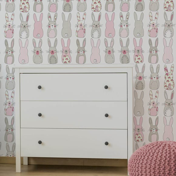 Katy Rabbit Pink Wallpaper Pink