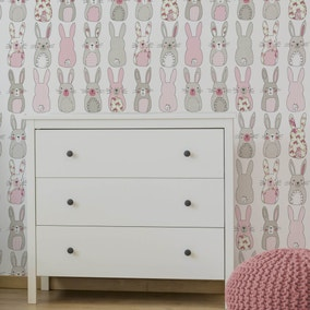 Katy Rabbit Pink Wallpaper