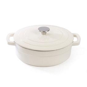 Dunelm Cream Cast Iron Shallow Casserole Dish