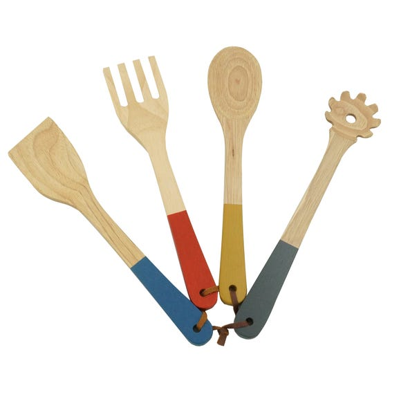 Elements Pack of 4 Wooden Utensils Multi Coloured