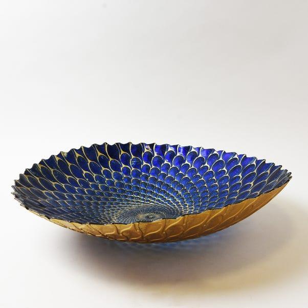 Deco Charm Teal Glass Platter Blue