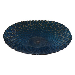 Deco Charm Teal Glass Platter