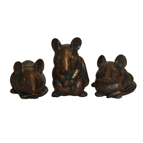 Keepers Lodge Set of 3 Mice Ornaments Brown