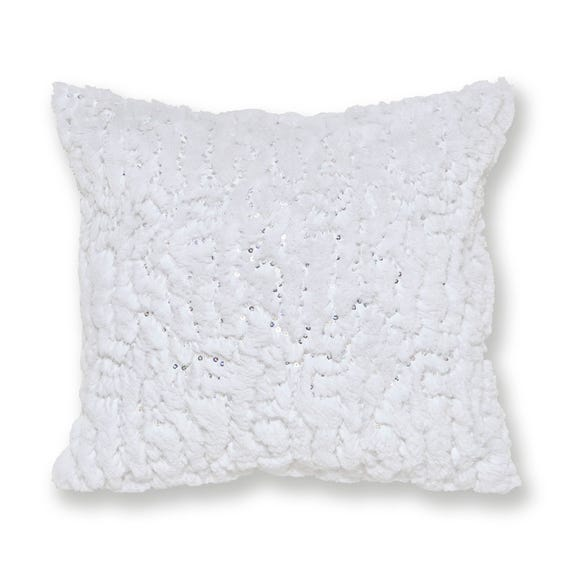 Faux Fur White Sequin Cushion White